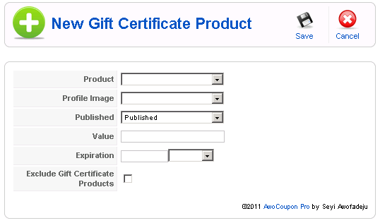 new gift certificate product