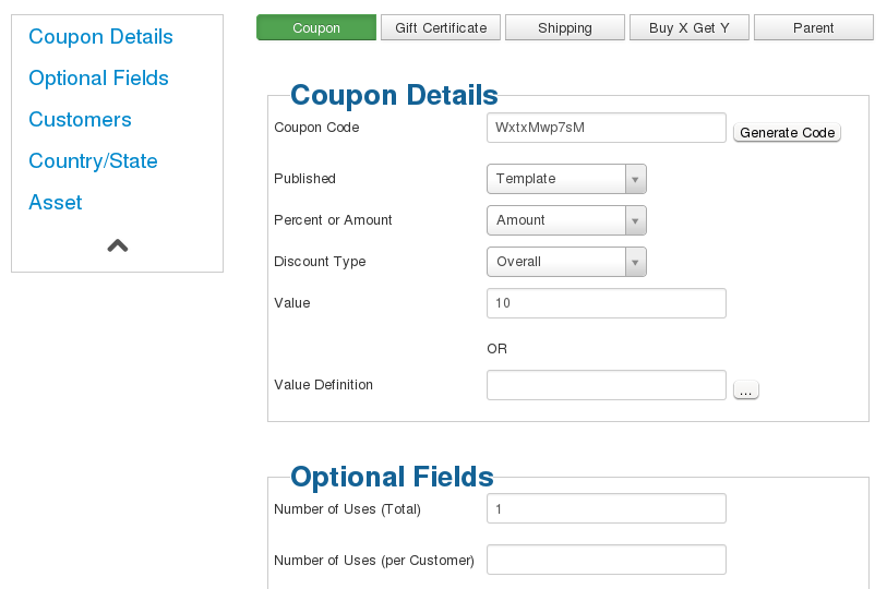 you can create a coupon using either your shopping cart virtuemart hikashop redshop or you can create a coupon code within awocoupon in this example
